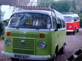 Green and white campervan