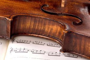 Timothy's violin and sheet music
