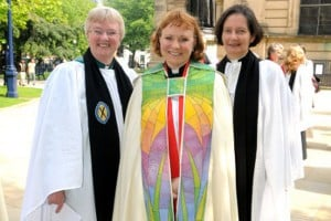 The Very Revd Catherine Ogle with June Osborne, Dean of Salisbury (left) and Vivienne Faull, Dean of York (right) at Catherine's installation in 2010.