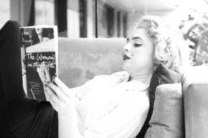 black and white photo of Marilyn Monroe lookalike