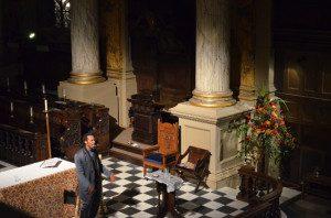 Benjamin speaking in a Birmingham Cathedral