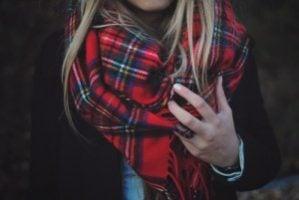 woman in a tartan scarf