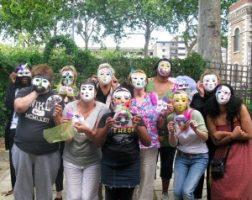 kids in masks at workshop