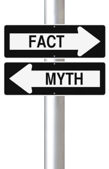 Signpost with fact or myth on it