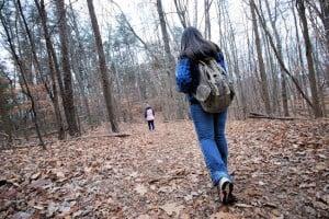 Woman on a woodland walk