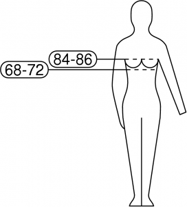 Diagram with breast measurements