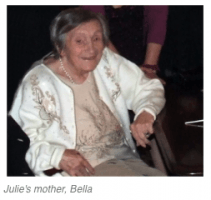 Julie's mother, Bella sitting and smiling