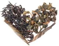 tea leaves shaped into a heart