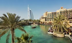 Burj Al Arab hotel at a distance in Dubai, United Arab Emirates