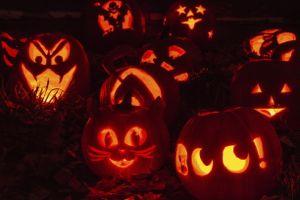 Carved and lit pumpkins