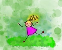 cartoon girl in the grass