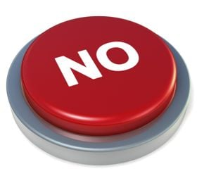 button with the word 'no' on it