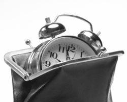 clock in a purse