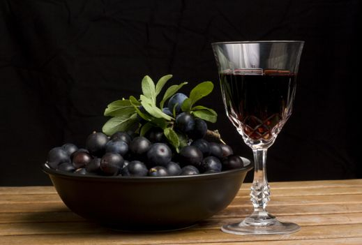 Blackberry cordial and gin-steeped sloes
