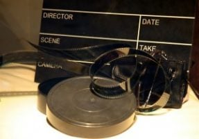 A film reel and clapper board