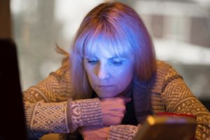 Women using Seasonal Affective Disorder lamp