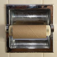 empty toilet roll on a wall fitting