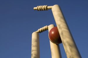 Clean bowled wicket against a blue sky