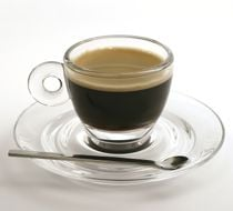 Lavazza coffee, espresso in a clear cup