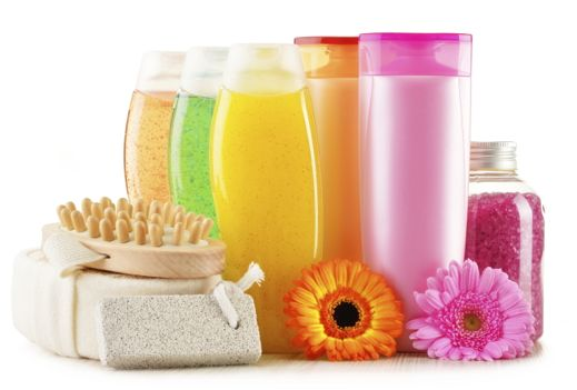 Bottles of body care and beauty products