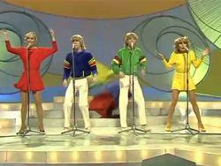 Bucks Fizz winning Eurovision