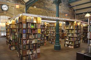 Inside Barter Books, shelves of books and central column