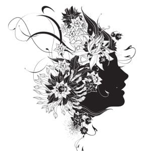 Illustration in black and white of a women with a flower in her hair