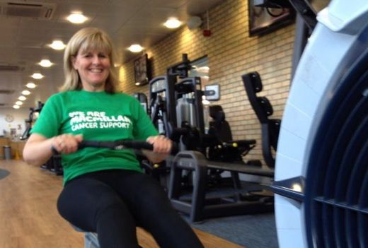 Jo Moseley - One Happy Rower on an indoor rowing machine
