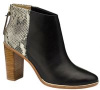 Ted Baker Lorcae Leather Snakeskin Print Block Heel Ankle Boots, Black/White