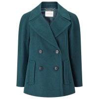 Pu Trim Pea Coat, Dark Green