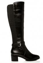 In black leather this long leather knee boot is versatile and set on a comfortable mid block heel ideal for everyday