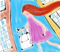 Cartoon of a girl shopping