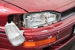 broken front headlight