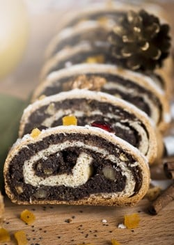Traditional Polish poppy seed cake for Christmas
