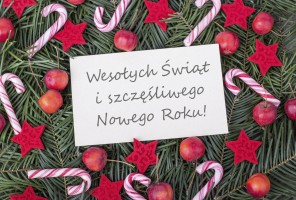 Christmas card with Christmas wishes in Polish