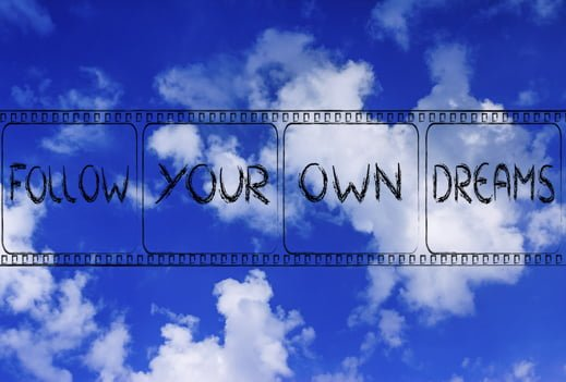 follow your own dreams, movie film strip symbol of deciding for your own life