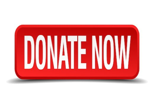Donate now red 3d square button on white background