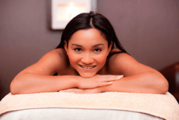 Woman having a massage and smiling