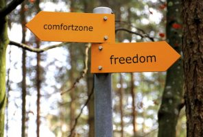 Signpost with comfort zone one way and freedom the other