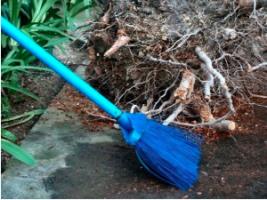 a blue broom sweeping