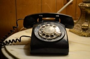 old fashioned telephone on a table