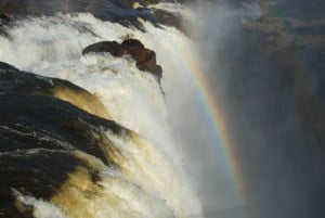 rainbow in a waterfall