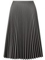 grey faux leather pleated skirt