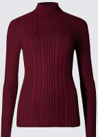 Ribbed roll polo from M&S in aubergine