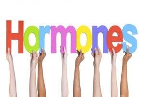 Group of Multiethnic Hands Holding Word Hormones