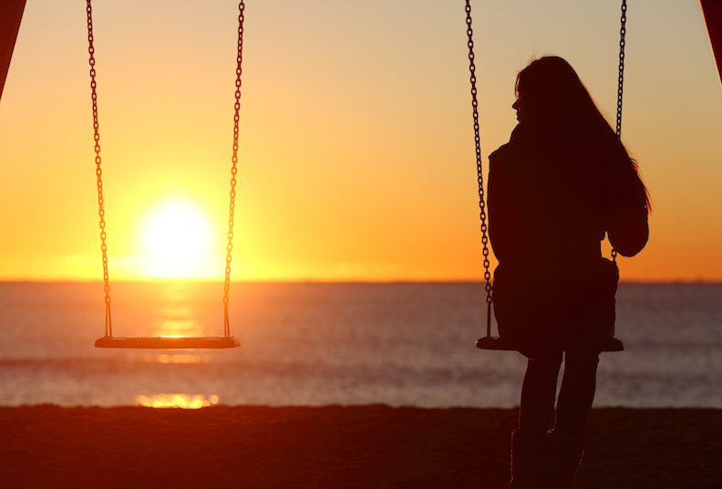 Woman sitting on swings alone