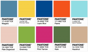 Pantone swatch of colour palette for Spring 2017