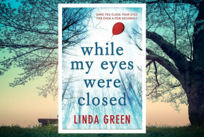 While my eyes were closed book cover with trees in the background