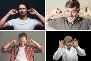 Montage of photos of men with their fingers in their ears