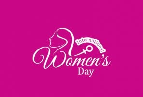 Elegant white color design for women's day on pink color background. vector illustration